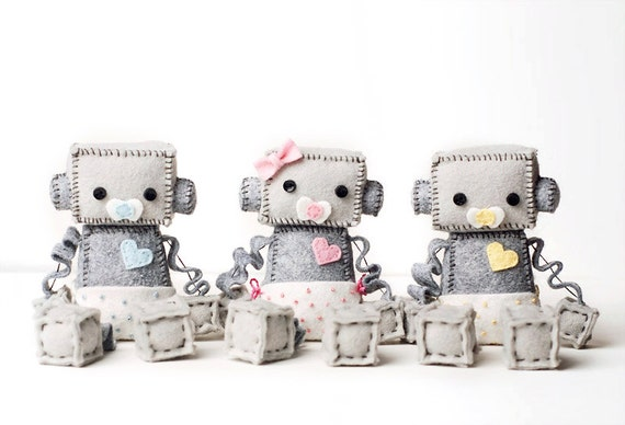 Baby robot in a diaper with pacifier pick boy or girl pink for Robot baby room decor