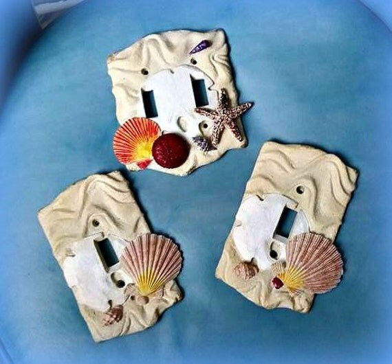 Seashell Light Switch Covers Hand Painted Resin Pair