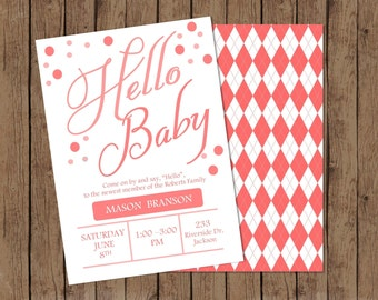 Hello Baby Welcome for New Baby Sip and See with Front and Back Girl Baby Available Digital file Front and Back Included