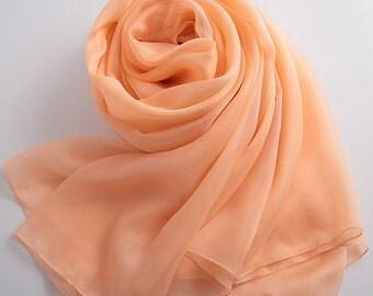 Light Salmon Silk Chiffon Scarf - Pale Orange Mulberry Silk Scarf  - AS2015-36