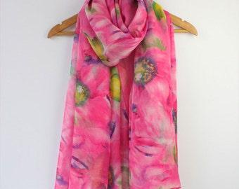 Hot Pink Floral Silk Scarf - Fuchsia Silk Chiffon Scarf - Floral Silk Scarf - AS2015-45