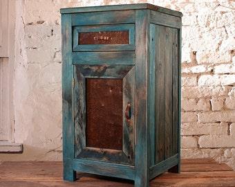 Nightstand Benjo natural wood Blue