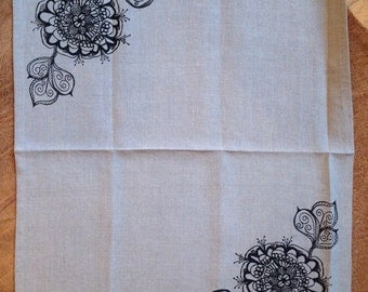 Mod Flower Screen Printed in Black on 100% Eco Friendly Linen, One Dish Tea Towel, Kitchen Towel, Hostess or Wedding Gift