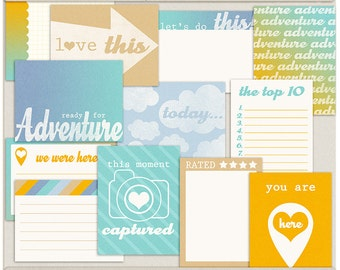 Digital Scrapbooking Printable Project Life Cards for Travel, Adventure, Vacation - Ready For Adventure Journal Cards - INSTANT DOWNLOAD