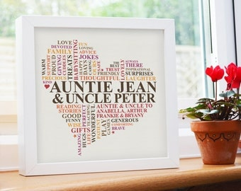 Framed Print. Aunt and Uncle gift. Personalised gift for aunt and uncle. Gift from niece & nephew. Gift for auntie.