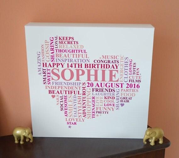 Canvas Teenage Birthday Gift. 13th 14th 15th 16th By