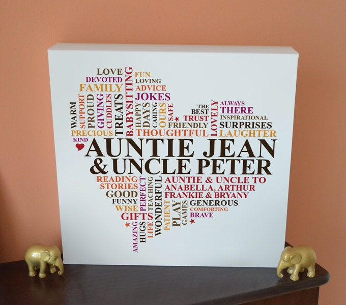 Auntie & Uncle Canvas. Personalised unique word art decor.