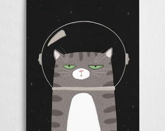 Space cat illustration,  kitty art print // Space Cat