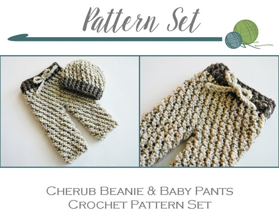 CROCHET PATTERNS SET - Cherub Beanie and Baby Pants, Crochet Hat ...