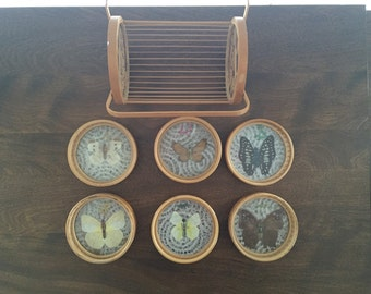 VINTAGE real butterfly coaster set