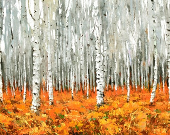 """Autumn forest - Oil Palette Knife Painting on Canvas by Dmitry Spiros. Size: 26""""x40"""" (65 cm x100 cm)"""