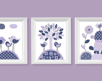 Purple and Navy Bird Nursery Art, Baby Girl, Girl's Room Decor, Baby Shower Gift, Turtles, Art for Children, Nursery Ideas, Toddler