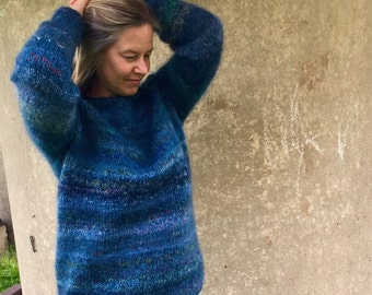 Mohair sweater Blue sweater Winter sweater Women's sweater Comfy sweater Dark blue sweater Made to order