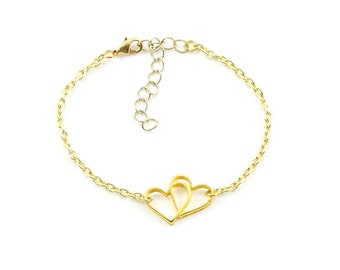 Gold plated hearts bracelet - gold mix and match armcandy