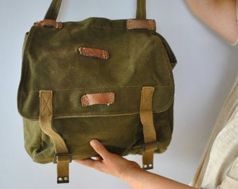 Vintage ARMY MESSENGER BAG  , army bag , military messenger bag ...(160)