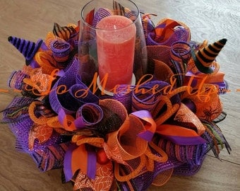 Festive Halloween table centerpiece/Candle ring