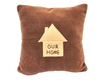New Home Pillow, Cozy Soft Fleece, Specialty, Novelty, Gift, Our Home. Brown, Congratulations