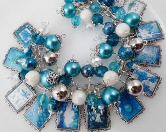 Shades of Turquoise Picture Charm Bracelet Cha Cha Bracelet Altered Art Bracelet