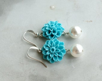 Earrings, turquoise and pearl resin flower earrings, dahlia earrings