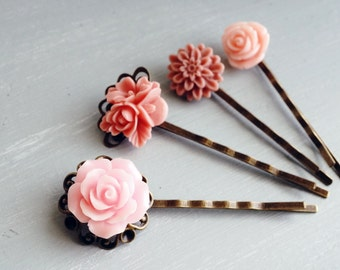 Bobby Pins, Pink resin Flower and brass hair pins