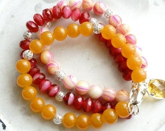 50% Off SALE Bracelet set, Pink, Yellow and silver beaded bracelets 1