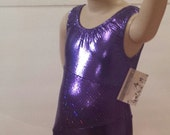 Purple Shimmer & Purple Sparkle Asymmetrical Leotard for Gymnastics or Dance - Girls Sizes 2 to 12
