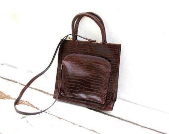 SALE FURLA Vintage Brown Croc Embossed FURLA Italian Crossbody Shoulder Bag Purse