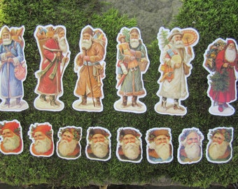 SALE 14 Vintage Victorian Paper Christmas Santa Tags and Ornaments