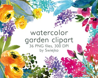 Watercolor Clipart, Digital Flowers, Floral Clipart, Watercolor Garden, pastel color palette, Wedding, Invitation