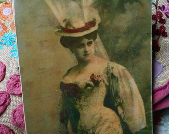hanging wood sign edwardian actress postcard image shabby chic french decor gift for her lily maud handmade recycled wood
