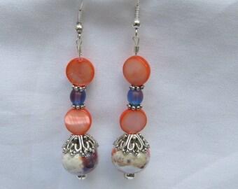 White Purple Melon Ceramic Crystal Bead Earrings Long Dangle Earrings Drop Earrings SALE