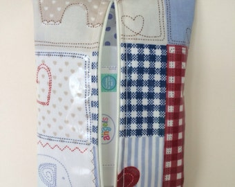 Baby wipes holder,wet wipes case,water wipes case,in Blue & red elephant oilcloth