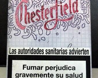 Vintage Chesterfield tin cigarette box and Chevignon cigarette packet