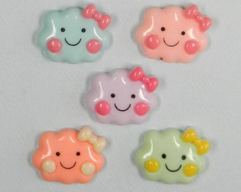 10 CLOUD Cabochons, Resin cabochons, Clouds, Kawaii, Decoden, Scrap booking, Card making, Craft Supplies