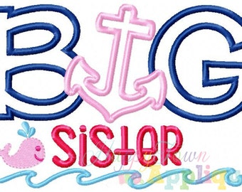 Nautical Big Sister Machine Embroidery Design