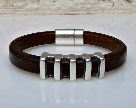 Men's Leather Bracelet Leather Mens Bracelet Cuff Silver Plating Magnetic Clasp Customized On Your Wrist