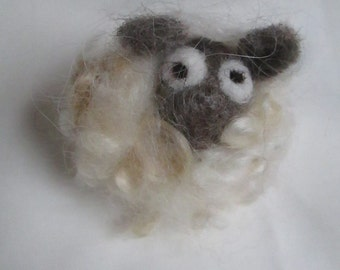 Needle felted brooch - 'Sean the Sheep'