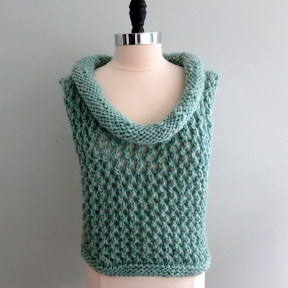 Knitting Pattern For Lace Collar : Lace Vest with Cowl Collar Knitting Pattern PDF 245 Bulky