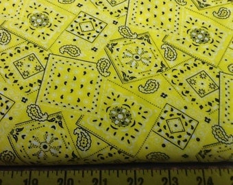 Yellow Blazin Bandana Fabric by the yard
