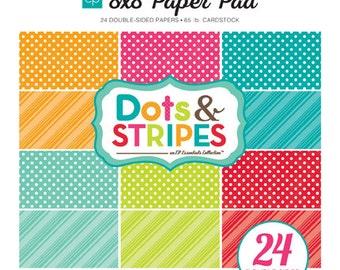 Echo Park Paper DOTS & STRIPES Brights 8x8 Scrapbook Paper Pad (DS15032)