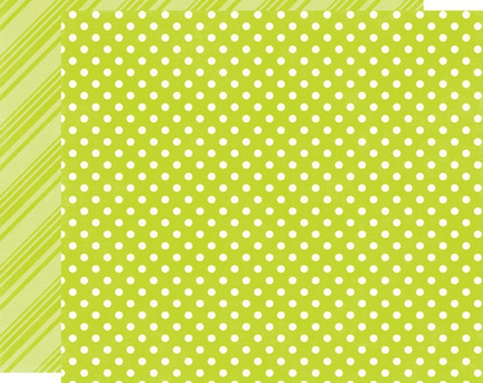 2 Sheets of Echo Park Paper DOTS & STRIPES Brights 12x12 Scrapbook Paper - Lime (DS15029)