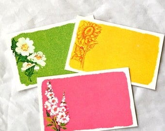3 Current Post A Note Floral Postcards, Mid Century Bright Colors Floral Mushrooms Note Post Cards Mod Funky Colors Pink Purple Yellow Green