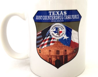 Texas Joint Counterdrug Task Force Mug, Law Enforcement Mug, Alamo Cup, Texas Mug, USA Flag Texas Flag Alamo Established 1989