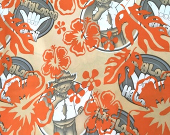 Surfer Hang Loose Fabric, Orange Surfer Hawaii Fabric, Hibiscus Surfer Straw Hat, Vintage Surfer Fabric Polyester, Hawaiian Surfing Material