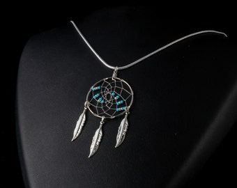 Handmade Silver Dreamcatcher Necklace with Turquoise and silver beads