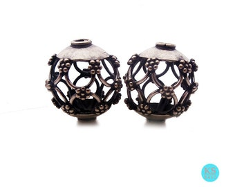 Two 15mm 925 Sterling Silver Wire Work Beads, 4.35 grams, Two 15mm Sterling Silver Bali Beads.