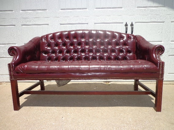 Vintage Oxblood Leather Sofa Couch Loveseat Vintage Rustic