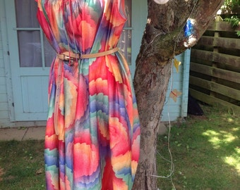Vintage 70's rainbow bright sun dress