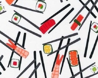 Sushi Chopsticks Please - BY THE YARD quilting  Fabric 100% Cotton Fabric