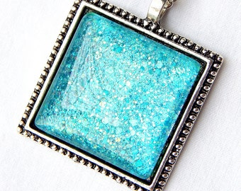 Turquoise Necklace; Square Glass Pendant; Hand Painted Glass Pendant Necklace; Nail Polish Jewelry; Square Necklace; Turquoise Jewelry